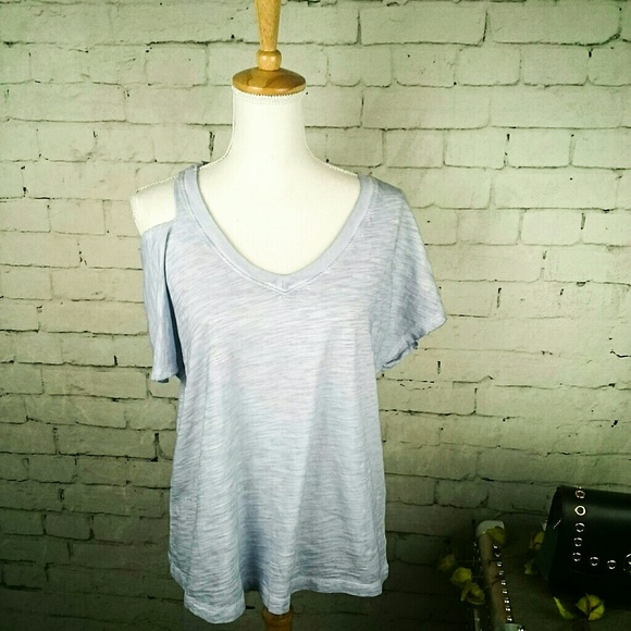 NWT Sanctuary T-Shirt White Cold Shoulder Heathered Cotton Short Sleeves